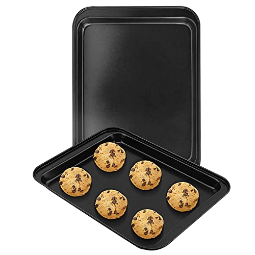 EALEK Small Baking Sheet 2 Pack 9.5 x 7 Inch, FDA Nonstick Toaster Oven Tray, Dark Grey, Small Cookie Sheet for 1 or 2 Person