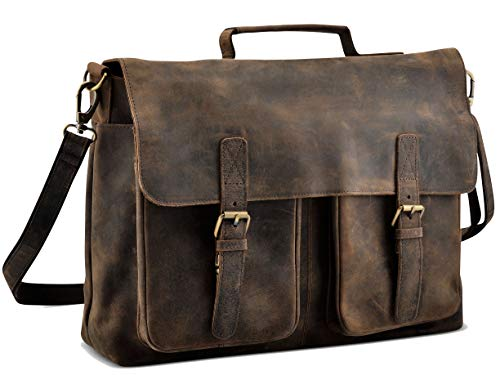 KomalC 16 Inch Buffalo Leather Briefcase Laptop Messenger Bag Office Briefcase College Bag for Men and Women