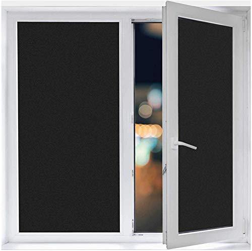 遮光シート 窓ガラス 目隠しシート 真っ黒完全遮光 ガラスフィルム 水で貼る 剥がせる 窓用フィルム 紫外線 uvカット 日除け すりガラス調 めかくしシート くもりガラスフィルム 44.5x200cm