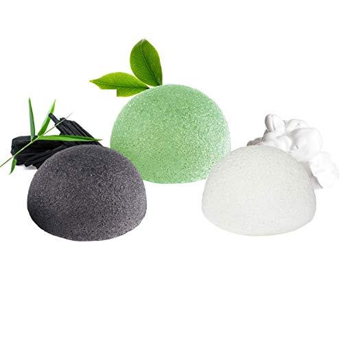 Esponja Konjac Facial (3 Piezas), Konjac Esponge Set para Limpieza y Exfoliación Profunda de Poros, 100% Naturales Carbón de Bambú/Té Verde/Esponja Blanca, Esponjas Faciales para Todo Tipo de Piel