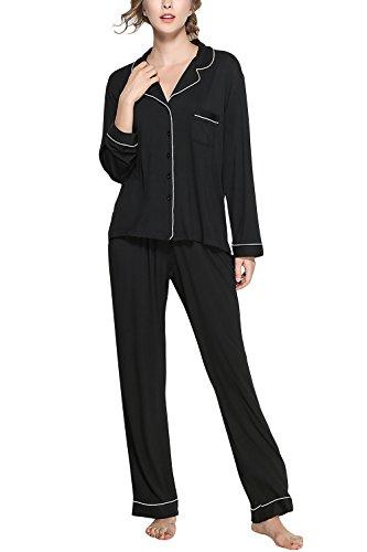 Dolamen Femme Pyjamas, Modal Coton Chemises de Nuit Femmes, Femmes Ensemble de Pyjama, Luxe & Lingerie Chemise à Carreaux avec Poche Chemise de Nuit Longue (Large, Noir)