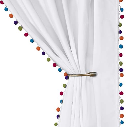 LORDTEX Multi Color Pom Pom Curtains for Kids Room - Thermal Insulated Curtains Noise Reducing Light Blocking Rod Pocket Window Drapes for Boys and Girls Bedroom, 52x84 inch, White, Set of 2 Panels