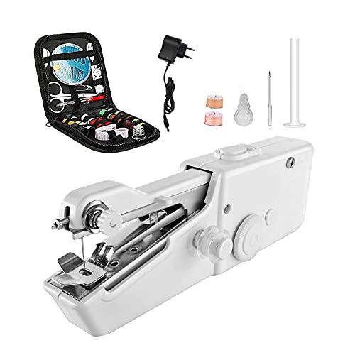 Máquina de coser a mano, portátil, minimáquina de bordar eléctrica doméstica, herramienta de costura rápida inalámbrica con accesorios de costura para principiantes, adultos, hogar, manualidades