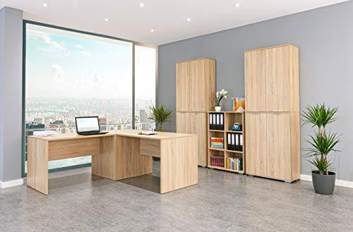 mutatio Büromöbel, Arbeitszimmer, Schreibtisch, Aktenschrank und Regal aus der Serie (Büroset 13 TLG, Sonoma)