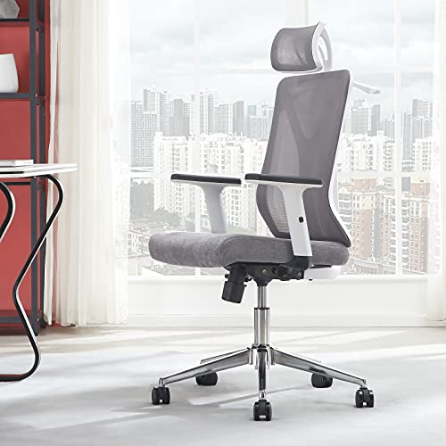 Molblly Home Office Chair Ergonomic Desk Chair Computer Chair High-Back Mesh Chair Adjustable Arm Rests & Seat Height with Thick Seat,Adjustable Lifting Headrest with Hanger- Reclines,White