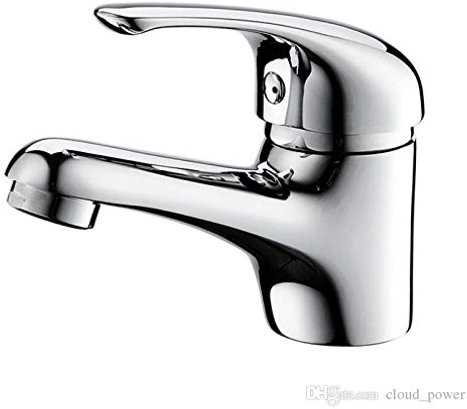 Decorry Bathroom Basin Faucet Brass Contemporary Ceramic Valve-Core Hot and Cold Water Mixer Tap with Chromium, Single Handle