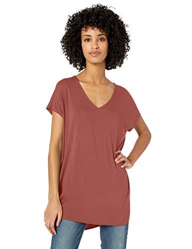 "Amazon-Marke: Daily Ritual, Damen-T-Shirttunika aus Jersey, Dolman-Ã""rmel, V-Ausschnitt, rosa - dusty pink, L"