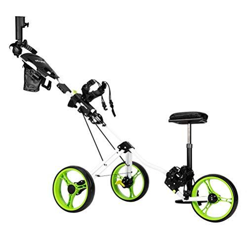 LVHC Golf Push Cart, Faltbare 3 Rad Golftrolley mit Sitz Regenschirmständer, kompakter Pull Caddy Cart, leicht zu öffnen