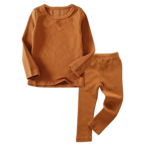 Toddler Boys Girls Thermal Underwear Long Sleeve T-Shirt Leggings 2Pcs Kids Winter Base Layer Set, (Brown,7Years)