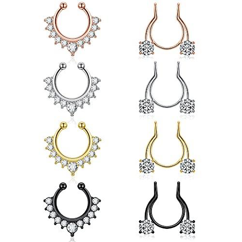 JSDDE 8 pendientes falsos para la nariz, de cristal, para la nariz, el cartílago, la oreja, la oreja, el cartílago, la joyería elegante para mujeres y mujeres
