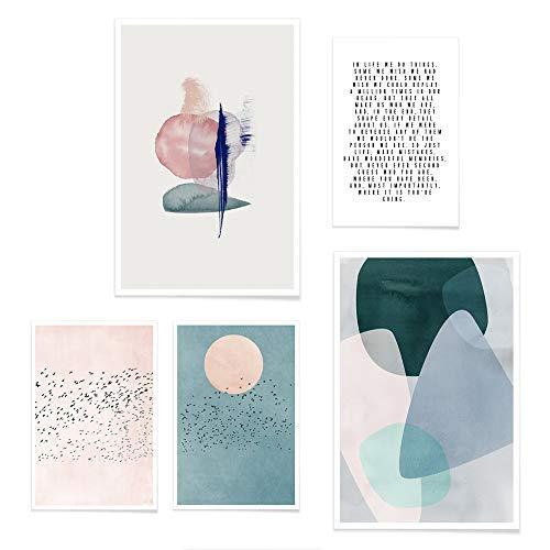 JUNIQE® Poster-Set - Abstrakte & Pinselstrich-Kunst - Poster & Prints für stilvolle Wände - 3X 20x30 & 2X 30x45