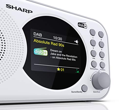 SHARP DR-P320 (WH) DAB+ Digital Radio, DAB/DAB +/FM mit RDS-Lauftext, Alarm-/Schlummerfunktion, Weiß