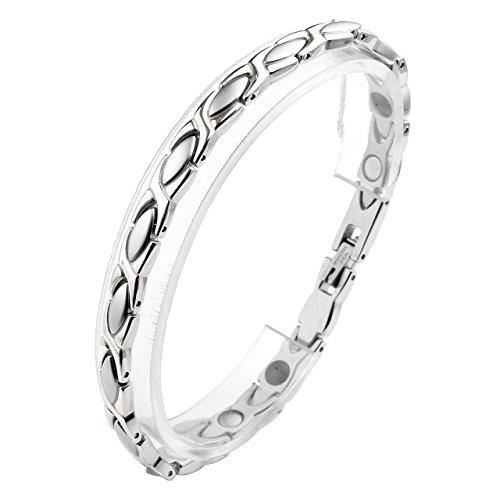 Jovivi Schmuck Damen Edelstahl Magnetarmband Olive X Form 4-in-1 Magnettherapie Armband Magnetisches Armreif Silber 20cm