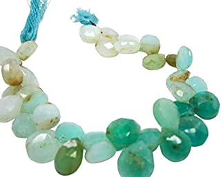 Jewel Beads 50% Off Peruvian Opal Beads, Faceted Briolettes, Peruvian Blue Opal Briolettes, Peruvian Opal, 9mm to 12mm 4 inch Strand Code-AUR-68702