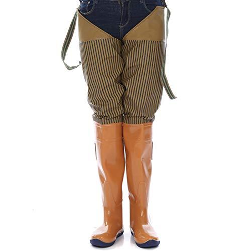 DLQX Pantalones De Balancín De Pesca para Hombres, Botas Impermeables Pantalones De Pesca Pantalones De Estanque, Pantalones De Balancín Livianos Y Transpirables (Material PU)(Size:42,Color:A)