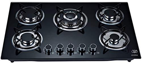 AVERA VT5 Parrilla a gas de Empotrar con 5 Quemadores en Vidrio Templado, color Negro. Estufa para…