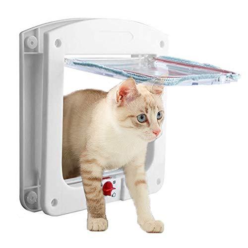 THETAG Katzenklappe,Katzenklappe Fliegengittertür Haustierklappe für Katzen und Kleine Hunde 4 Wegeverschluss Katzentüre(Weiß, S)