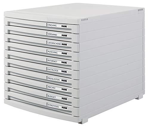 HAN Schubladenbox CONTUR – modernes und modular erweiterbares Schubladensystem, mit 10 geschlossenen Schubladen bis Format DIN B4, lichtgrau, 1510-11