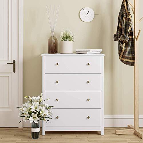 HOMECHO Schubladenkommode in Weiß Kommode mit 4 Schubladen Schubladenschrank Sideboard Anrichte für Schlafzimmer Wohnzimmer Badezimmer Skandinavische 74 * 40 * 94 cm