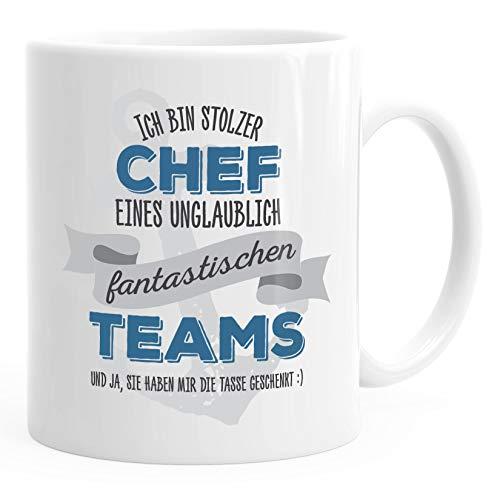 MoonWorks® Kaffee-Tasse Ich bin stolzer Chef eines ungeheuer fantastischen Teams Geschenk Spruch weiß unisize