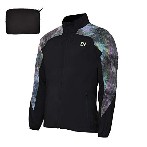 Running Jacket for Men, Lightweight Reflective Track Jacket for Sports, Fitness, Workout, Gym (M)