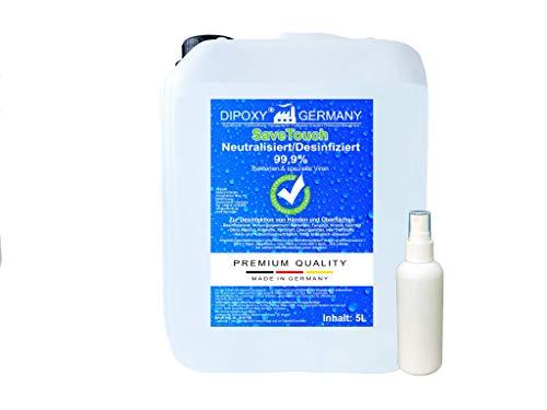 SaveTouch 5L Desinfektion plus Pumpsprühflasche zum Wiederbefüllen Desinfektionsmittel für Oberflächen und Hände