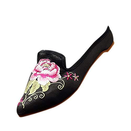 DAZISEN Bestickte Schuhe - Frauen Chinesischer Traditionen Beiläufiger Hibiskus Hausschuhe,Schwarz,CN35(Fußlänge:225mm)