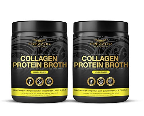 Collagen Protein Bone Broth, 100% Grass-Fed New Zealand Bovine Collagen Peptides Type I II III V VI VIII IX, Joint Pain, Anti-Aging, Weight-Loss, Improves Digestion, Lemon Ginger Flavor, 2-Pack