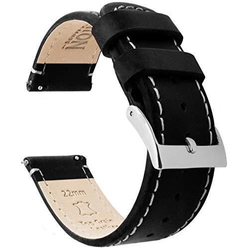 Barton Watch Bands Bracelet De Montre en Cuir Libération Rapide - Choisissez La Couleur Et La Taille Cuir en Noir/Lin en Blanc De Coutures 20mm