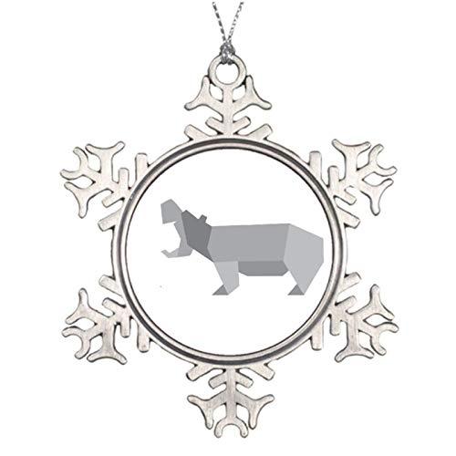 qidushop Adornos de Navidad para árbol de vacaciones Origami Hippo copo de nieve Ornamento Artesanía Decoración de Acción de Gracias Decoración