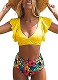 Joligiao Costume da Bagno Donna 2 Pezzi Sexy Brasiliana Bikini Volant Vita Alta Costumi da Mare Stampa Fogliare Swimwear