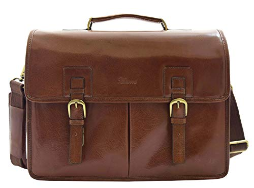 Mens Italian Leather Brown Briefcase Expandable Office Bag Messenger Laptop Case - Thomas