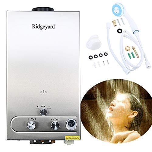 Ridgeyard 3.2GPM Water Heater 12L Digital Display LPG Propane Gas Tankless Stainless Instant Boiler Hot Water Heater Boiler Burner Bathroom Supplies