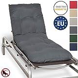 Beautissu Auflage für Garten-Liege Flair RL 190x60x8cm Sitz-Polster für Sonnenliege Schaumflocken-Füllung Graphit-Grau erhältlich