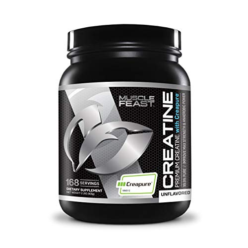 MUSCLE FEAST Creapure Creatine Monohydrate Powder   Premium Pre-Workout or Post-Workout   Easy to Mix, Gluten-Free, Safe and Pure, Kosher Certified (2lb, Unflavored)