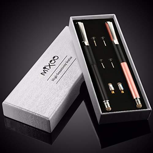 Mixoo Stift Präzision Disc Eingabestift Touchstift Stylus 2 in 1 Kapazitive Touchscreen Stift, kompatibel für Smartphones &Tablets (Shwarz + Roségold)