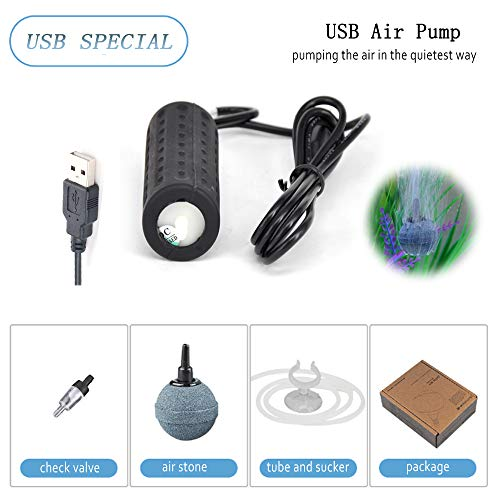 Mylivell Portable Ultra Silent Aquarium Air Pump Mini USB Oxygen Air Pump Hydroponic Oxygen Mute Energy Saving Supplies for Fish Tank with Air Stone &Tube