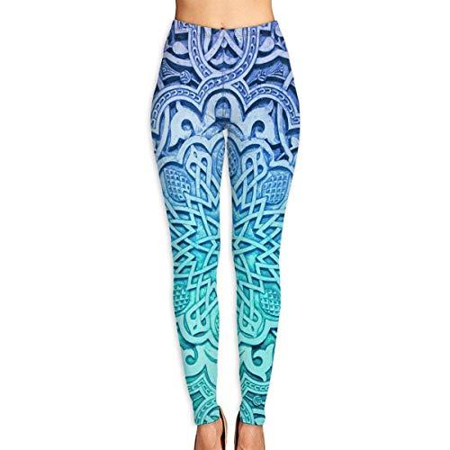 Ewtretr Mujer Pantalones de Yoga Pantalones Deportivos, Blue Vintage Flower Printed Leggings Full-Length Yoga Workout Leggings Pants