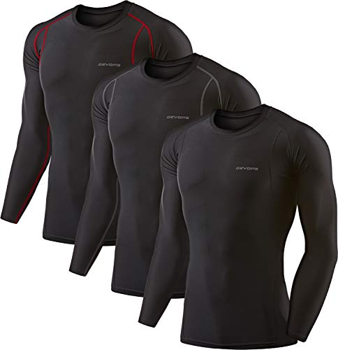 DEVOPS 3 Pack Men's Athletic Long Sleeve Compression Shirts (Medium, Black/Black/Black)