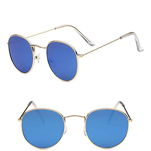 Metal Round Vintage Sunglasses Women Mirror Classic Retro Street Beat Glasses,GoldBlue