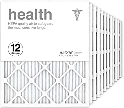 AIRx Filters 20x25x1 Air Filter MERV 13 Pleated HVAC AC Furnace Air Filter, Health 12-Pack, Made in the USA