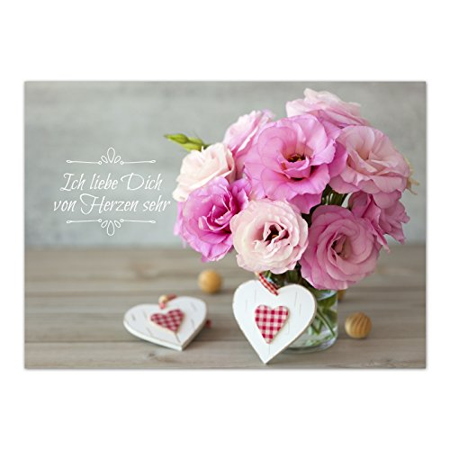 Grußkarte Blumenstrauss mit Herzen und Spruch/für Partner, Hochzeitstag, Kennenlerntag, Valentinstag, Hochzeit, Heiratsantrag/Mit Umschlag