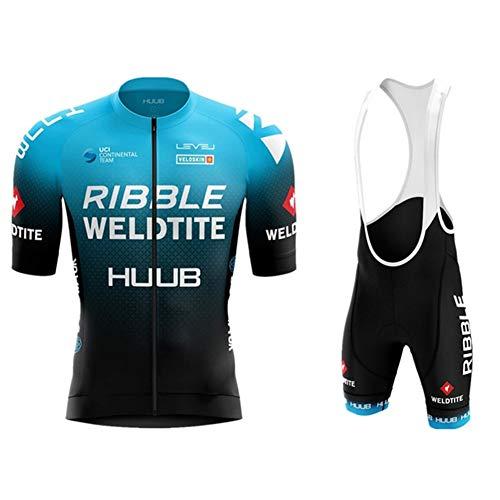 AJL Huub Blue Classic Camiseta de Ciclismo para Hombre de Ma