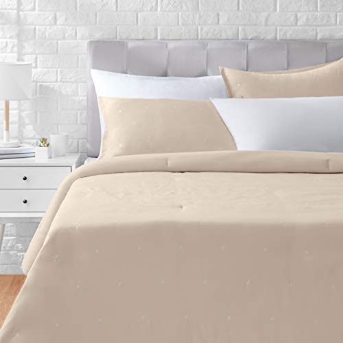 AmazonBasics Scattered Dot Embroidered Comforter Set - Premium, Soft, Easy-Wash Microfiber - Full/Queen, Taupe