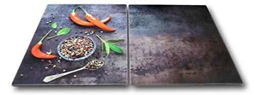 2 x Glas Herdabdeckplatte Herdabdeckung Schneidebrett Abdeckplatte für Ceranfeld Design Hot Chili Pfeffer extra für große 80 cm Kochfelder Herdblende