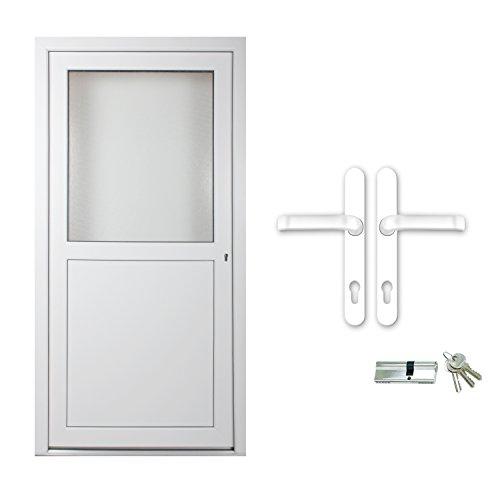 kuporta Kunststoff Kellertür Sofia weiß nach Maß DIN rechts nach außen öffnend mit Drücker/Drücker