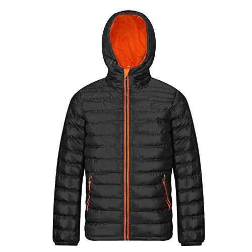 MADHERO Men's Puffer Jacket Water-Resistant Insulated Down Alternative Outerwear Coats Hooded Black Orange Size M