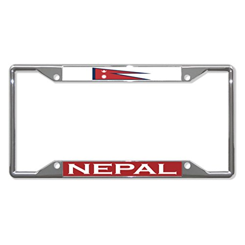 Nepal Vlag Land Metalen License Plaat Frame Tag Houder Vier Gaten Perfect voor Mannen Vrouwen Auto garadge Decor