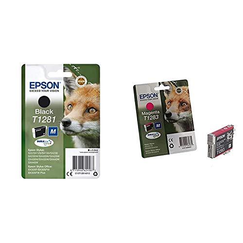 Epson C13T12814012 - Cartucho de Tinta, Negro + C13T12834011 - Cartucho Inyeccion Tinta Magenta Blister Stylus S Stylus