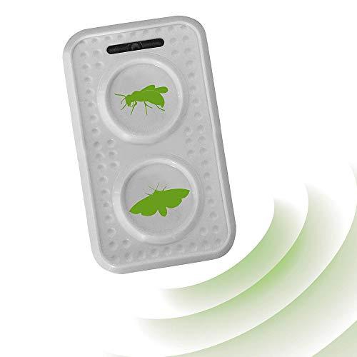 ISOTRONIC Ahuyentador de polillas y avispas con ultrasonidos | Repelente acústico para polillas y avispas | Apto para exteriores como jardines, balcones, terrazas, patios | Efecto duradero